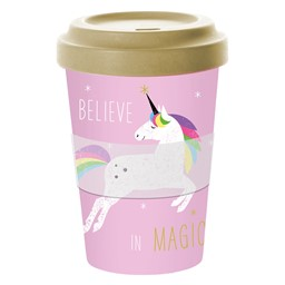 Bild von PInk Unicorn Einhorn Bambus Travel Mug Coffee to go